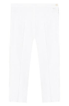 Детского хлопковые брюки IL GUFO белого цвета, арт. P20PR004C6002/10A-12A | Фото 1
