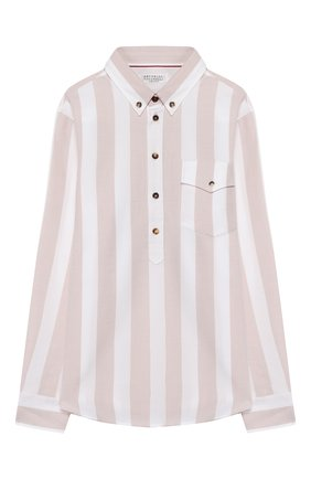 Детская хлопковая рубашка BRUNELLO CUCINELLI бежевого цвета, арт. BW613C320C   Фото 1