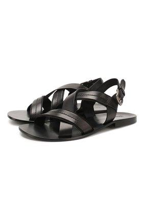 Мужские кожаные сандалии STEMAR черного цвета, арт. 9397001/A | Фото 1
