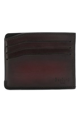 Мужской кожаный футляр для кредитных карт BERLUTI бордового цвета, арт. N197188 | Фото 1
