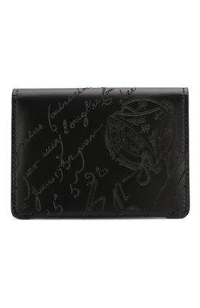 Мужской кожаный футляр для кредитных карт BERLUTI черного цвета, арт. N204275 | Фото 1