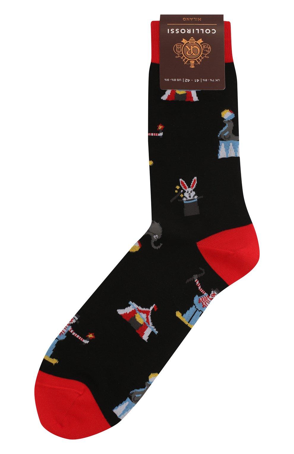 Мужские хлопковые носки COLLIROSSI черного цвета, арт. UFI4050-19/1 | Фото 1