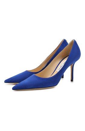 Женская замшевые туфли love 85 JIMMY CHOO синего цвета, арт. L0VE 85/BWJ | Фото 1