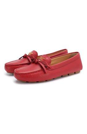 Женские кожаные мокасины PRADA красного цвета, арт. 1D042M-53-F068Z-5 | Фото 1
