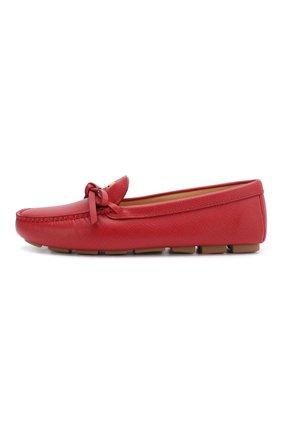 Женские кожаные мокасины PRADA красного цвета, арт. 1D042M-53-F068Z-5 | Фото 2