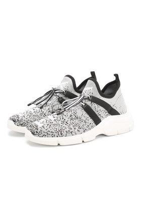 Женские текстильные кроссовки PRADA серого цвета, арт. 1E344L-3L52-F0A0N-15 | Фото 1