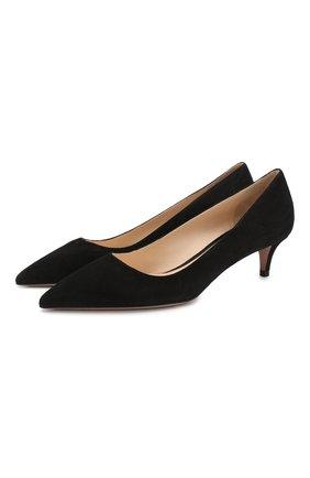 Женские замшевые туфли PRADA черного цвета, арт. 1I834I-8-F0002-J045   Фото 1 (Материал внутренний: Натуральная кожа; Подошва: Плоская; Каблук высота: Низкий; Каблук тип: Kitten heel; Материал внешний: Замша, Кожа)