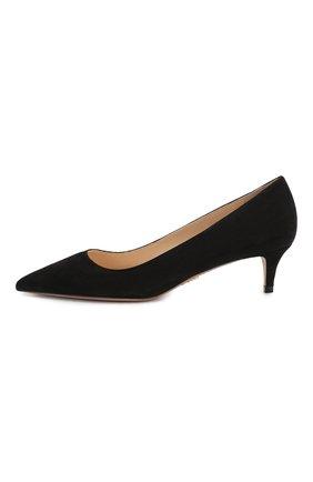 Женские замшевые туфли PRADA черного цвета, арт. 1I834I-8-F0002-J045   Фото 2 (Материал внутренний: Натуральная кожа; Подошва: Плоская; Каблук высота: Низкий; Каблук тип: Kitten heel; Материал внешний: Замша, Кожа)