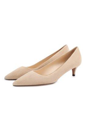 Женские замшевые туфли PRADA бежевого цвета, арт. 1I834I-8-F0770-J045 | Фото 1 (Материал внутренний: Натуральная кожа; Каблук высота: Низкий; Каблук тип: Kitten heel; Подошва: Плоская; Материал внешний: Замша)