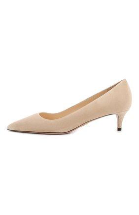 Женские замшевые туфли PRADA бежевого цвета, арт. 1I834I-8-F0770-J045 | Фото 2 (Материал внутренний: Натуральная кожа; Каблук высота: Низкий; Каблук тип: Kitten heel; Подошва: Плоская; Материал внешний: Замша)