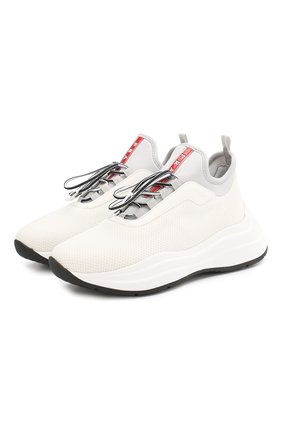 Женские текстильные кроссовки PRADA белого цвета, арт. 3E6425-3KTP-F0N87-A045 | Фото 1