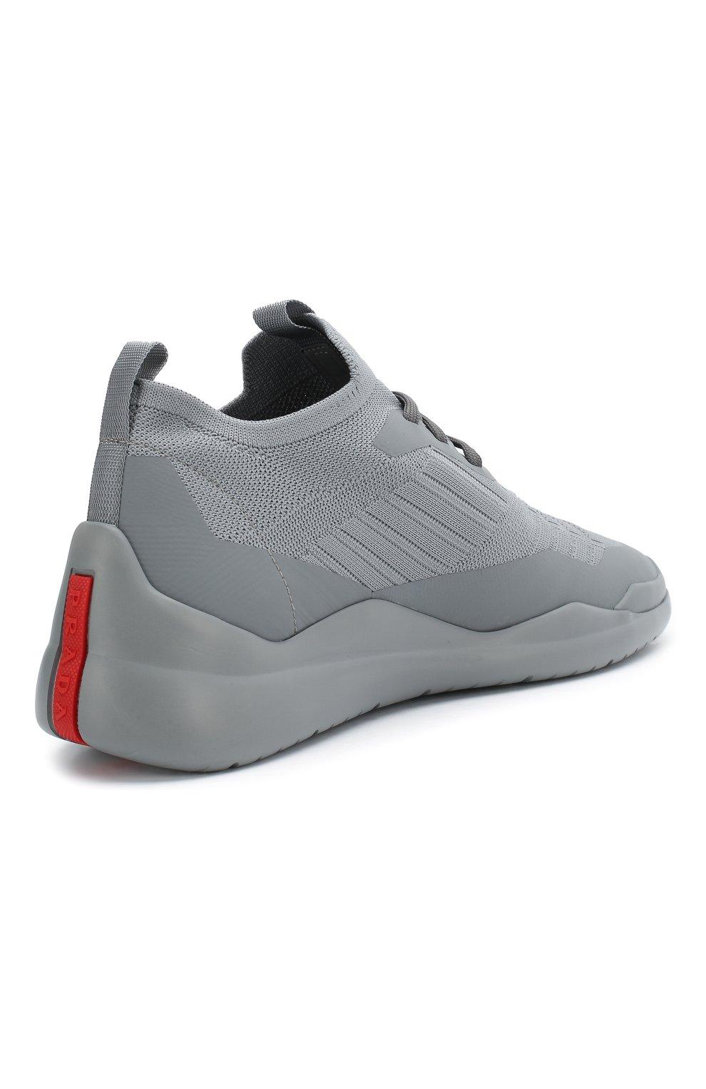 Женские текстильные кроссовки PRADA серого цвета, арт. 3E6442-3KFP-F0276-10 | Фото 3