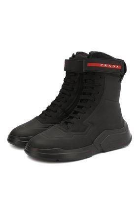 Женские ботинки PRADA черного цвета, арт. 3T6444-HEC-F0002-10 | Фото 1