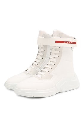 Женские ботинки PRADA белого цвета, арт. 3T6444-HEC-F0009-10 | Фото 1