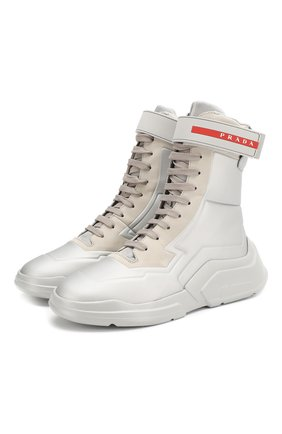Женские ботинки PRADA серого цвета, арт. 3T6444-HEC-F0518-10 | Фото 1
