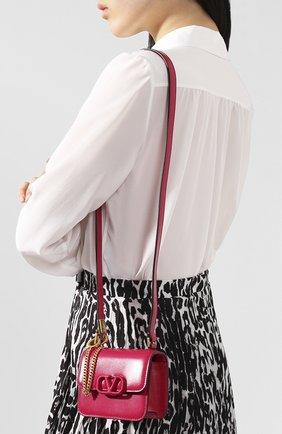 Женская сумка vsling micro VALENTINO фуксия цвета, арт. TW0B0G44/HFB   Фото 2 (Сумки-технические: Сумки через плечо; Материал: Натуральная кожа; Размер: mini; Ремень/цепочка: На ремешке)