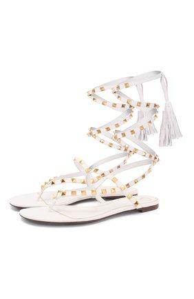 Женские кожаные сандалии valentino garavani rockstud flair VALENTINO белого цвета, арт. TW0S0X62/HYH   Фото 1