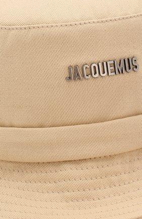 Женская хлопковая панама JACQUEMUS бежевого цвета, арт. 201AC26/69120   Фото 3