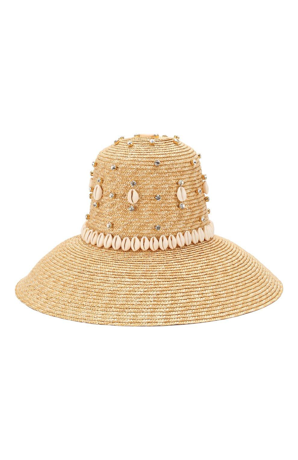 Женская соломенная шляпа LE NINE бежевого цвета, арт. RH 1901/CRYSTAL/00030 | Фото 1 (Материал: Растительное волокно)