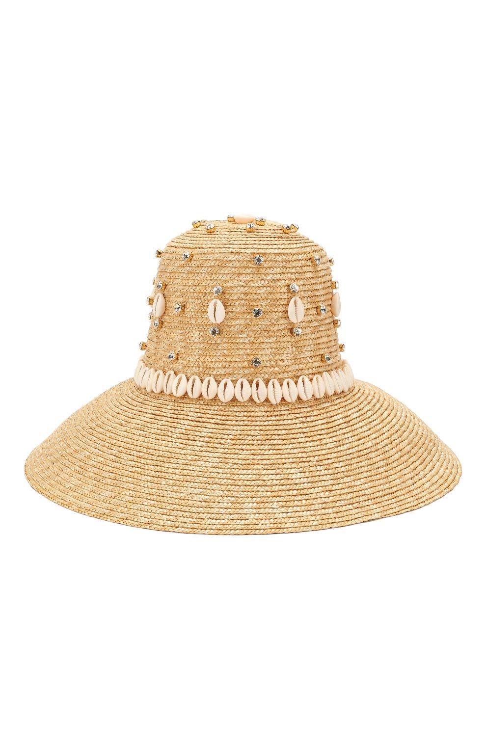 Женская соломенная шляпа LE NINE бежевого цвета, арт. RH 1901/CRYSTAL/00030 | Фото 2 (Материал: Растительное волокно)