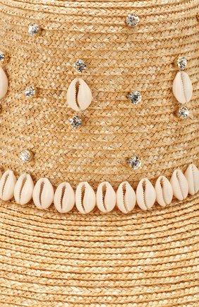 Женская соломенная шляпа LE NINE бежевого цвета, арт. RH 1901/CRYSTAL/00030 | Фото 3 (Материал: Растительное волокно)
