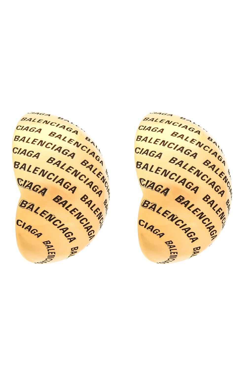 Женские клипсы BALENCIAGA золотого цвета, арт. 599455/TZ99J   Фото 3