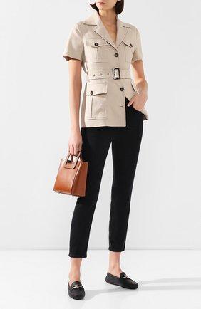 Женские кожаные мокасины TOD'S черного цвета, арт. XXW00G0CY765J1 | Фото 2