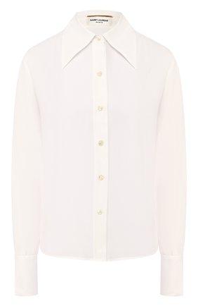 Женская шелковая рубашка SAINT LAURENT белого цвета, арт. 620779/Y100W   Фото 1 (Длина (для топов): Стандартные; Материал внешний: Шелк; Рукава: Длинные; Принт: Без принта; Женское Кросс-КТ: Рубашка-одежда)