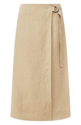 Женская льняная юбка LORO PIANA хаки цвета, арт. FAL1288 | Фото 1