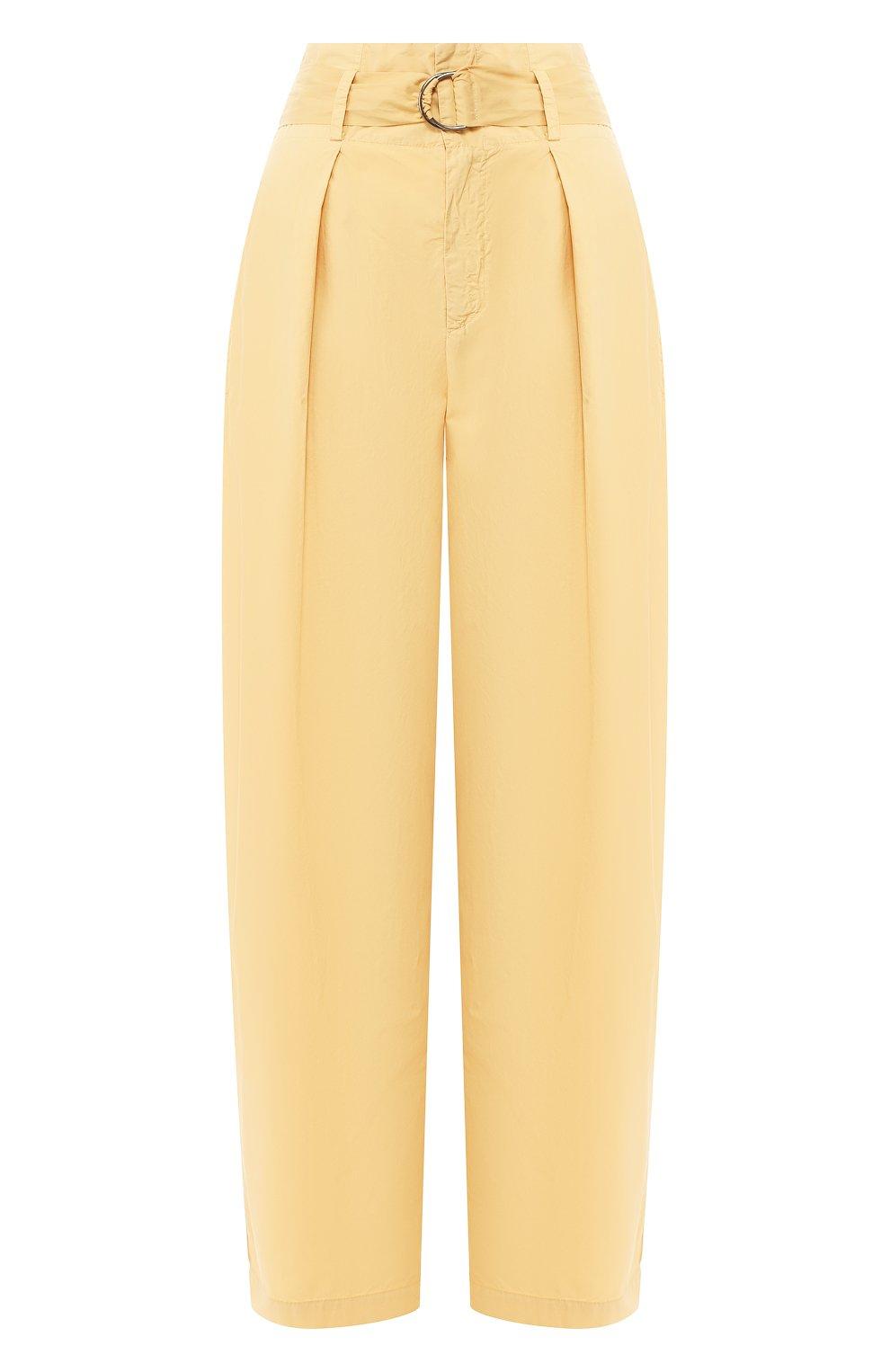 Женские хлопковые брюки NUDE желтого цвета, арт. 1103753/TR0USERS   Фото 1 (Длина (брюки, джинсы): Стандартные; Женское Кросс-КТ: Брюки-одежда; Материал внешний: Хлопок)