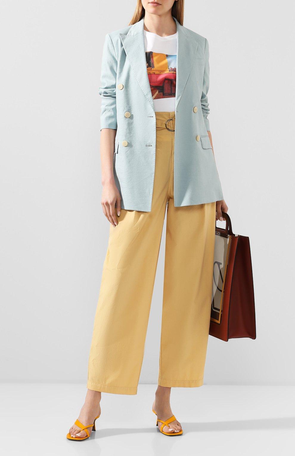 Женские хлопковые брюки NUDE желтого цвета, арт. 1103753/TR0USERS   Фото 2 (Длина (брюки, джинсы): Стандартные; Женское Кросс-КТ: Брюки-одежда; Материал внешний: Хлопок)