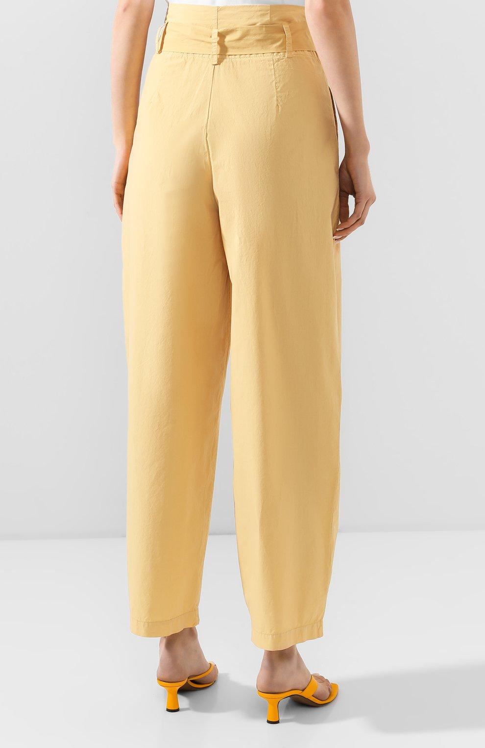 Женские хлопковые брюки NUDE желтого цвета, арт. 1103753/TR0USERS   Фото 3 (Длина (брюки, джинсы): Стандартные; Женское Кросс-КТ: Брюки-одежда; Материал внешний: Хлопок)