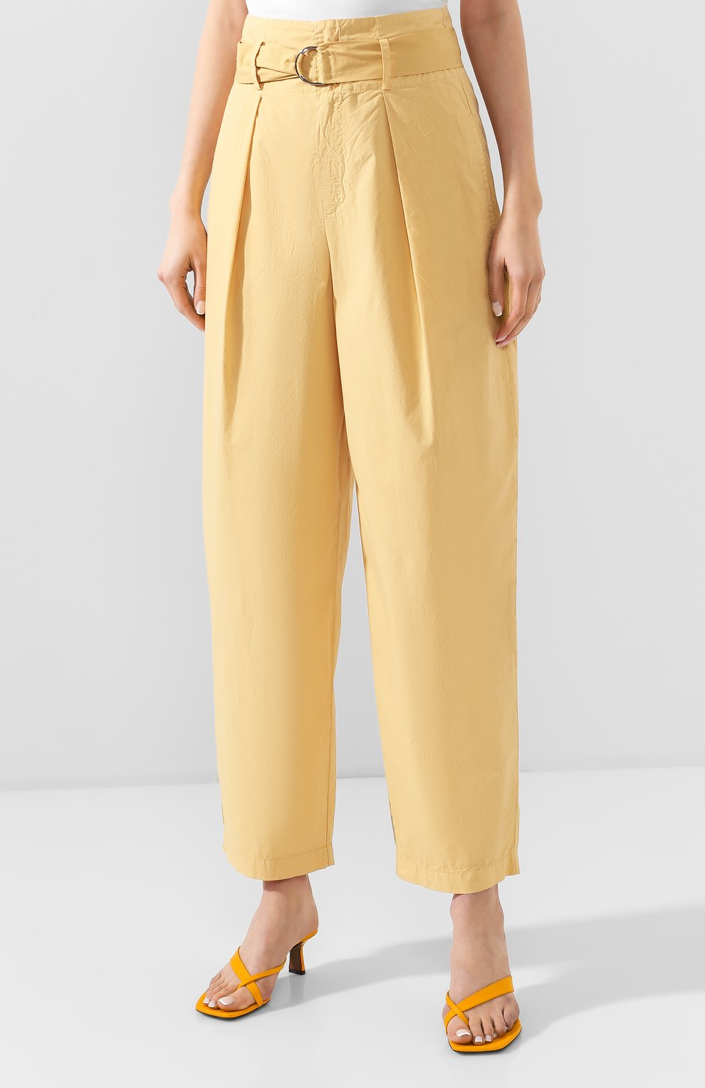 Женские хлопковые брюки NUDE желтого цвета, арт. 1103753/TR0USERS   Фото 4 (Длина (брюки, джинсы): Стандартные; Женское Кросс-КТ: Брюки-одежда; Материал внешний: Хлопок)