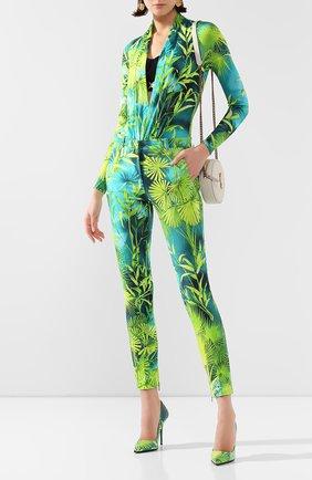 Женские брюки из вискозы VERSACE зеленого цвета, арт. A86124/A234694 | Фото 2
