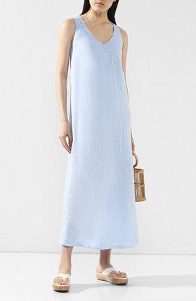 Женское льняное платье 120% LINO голубого цвета, арт. R0W4796/B317/S00 | Фото 2