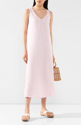 Женское льняное платье 120% LINO розового цвета, арт. R0W4796/B317/S00 | Фото 2