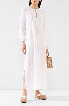 Женское льняное платье 120% LINO белого цвета, арт. R1W40FZ/0115/000 | Фото 2