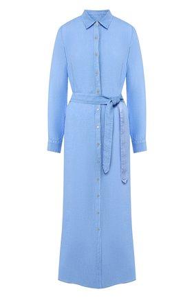 Женское льняное платье 120% LINO голубого цвета, арт. R1W40HE/0115/000 | Фото 1
