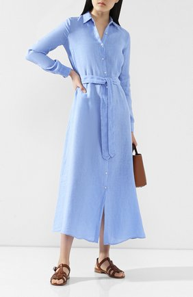 Женское льняное платье 120% LINO голубого цвета, арт. R1W40HE/0115/000 | Фото 2