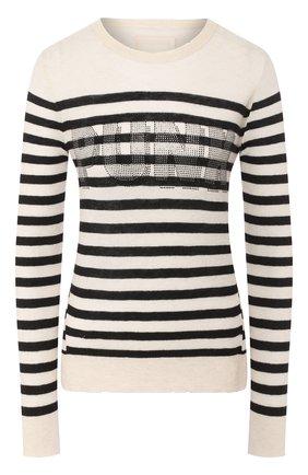 Женский кашемировый пуловер ZADIG&VOLTAIRE черно-белого цвета, арт. SJMF1117F   Фото 1