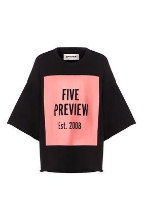 Женская хлопковая футболка 5PREVIEW черного цвета, арт. WPA357 | Фото 1