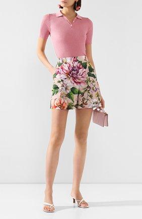 Женские хлопковые шорты DOLCE & GABBANA розового цвета, арт. FTBQNT/HS5F8 | Фото 2