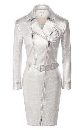 Женское кожаное платье JITROIS серебряного цвета, арт. R0BE MANTEAU KRISTEN FEM APS   Фото 1