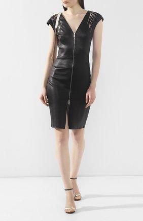 Женское кожаное платье JITROIS черного цвета, арт. R0BE MALIBU AS BR0DEE ZIP DEVANT PAS DE BR0DERIE D | Фото 2