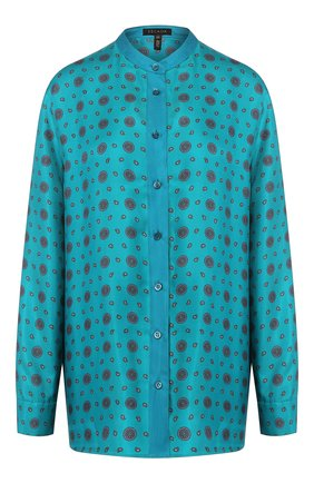 Женская шелковая рубашка ESCADA бирюзового цвета, арт. 5033012 | Фото 1