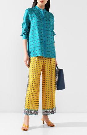 Женская шелковая рубашка ESCADA бирюзового цвета, арт. 5033012 | Фото 2