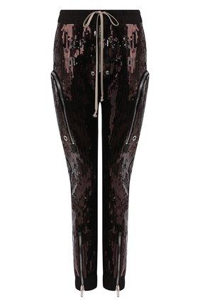 Женские брюки с пайетками RICK OWENS черного цвета, арт. R020S1326/TEEM1   Фото 1