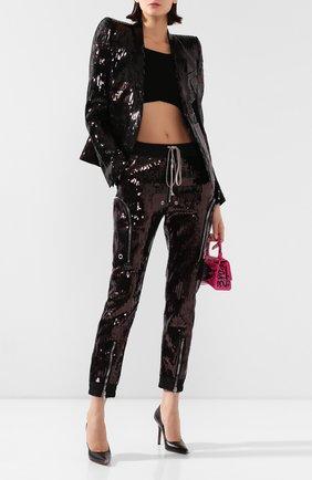 Женские брюки с пайетками RICK OWENS черного цвета, арт. R020S1326/TEEM1   Фото 2