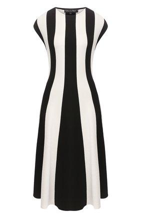 Женское платье из смеси шелка и хлопка OSCAR DE LA RENTA черно-белого цвета, арт. 20SN123STH | Фото 1