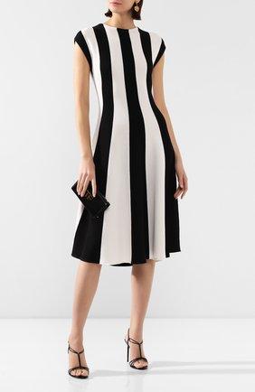 Женское платье из смеси шелка и хлопка OSCAR DE LA RENTA черно-белого цвета, арт. 20SN123STH | Фото 2